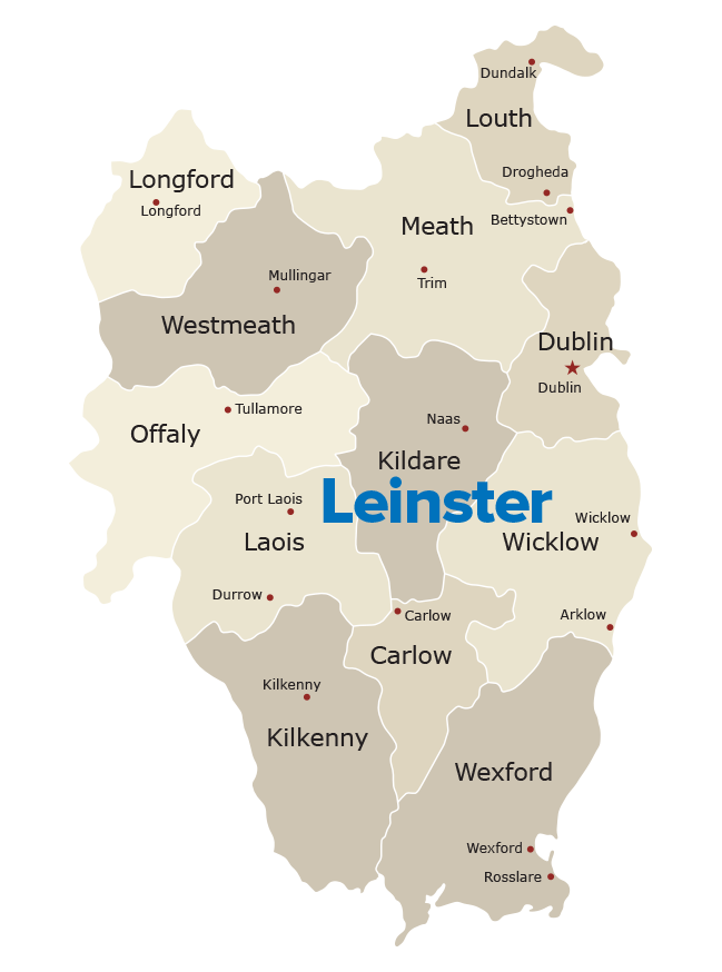 Map Of Ireland Leinster.Top Golf Courses In The East Of Ireland Old Country Golf Tours